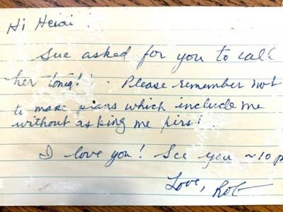 Hi heidi found note